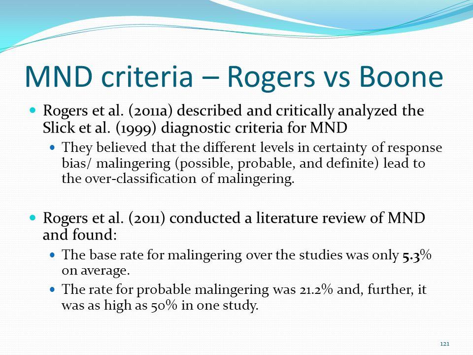 MND criteria – Rogers vs Boone Rogers et al. (2011a) described and critically analyzed the Slick et al. (1999) diagnostic criteria for MND They believ