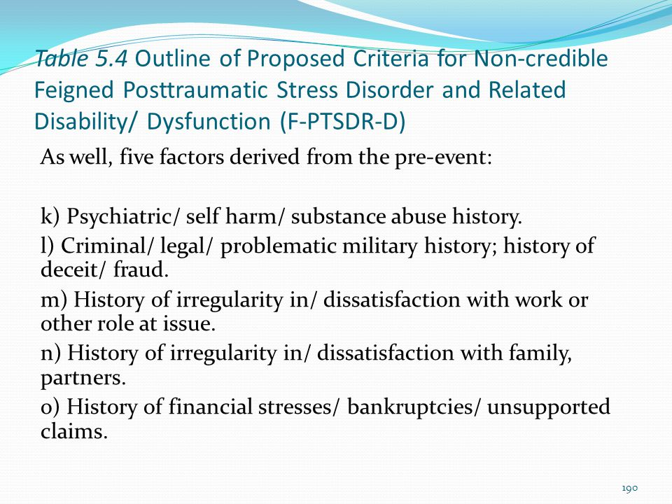 Table 5.4 Outline of Proposed Criteria for Non-credible Feigned Posttraumatic Stress Disorder and Related Disability/ Dysfunction (F-PTSDR-D) As well,