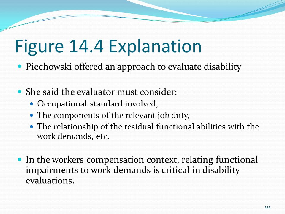 Figure 14.4 Explanation Piechowski offered an approach to evaluate disability She said the evaluator must consider: Occupational standard involved, Th