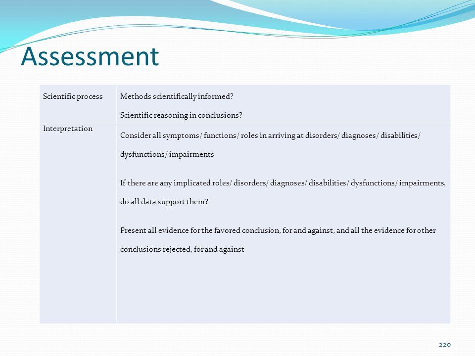 Assessment Scientific process Methods scientifically informed? Scientific reasoning in conclusions? Interpretation Consider all symptoms/ functions/ r