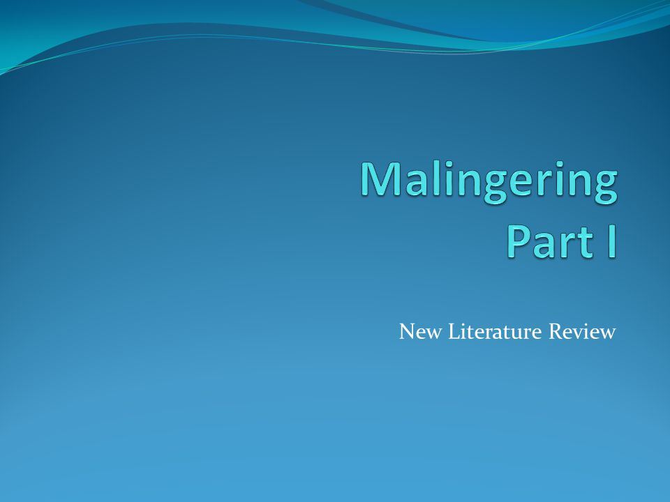 New Literature Review Young (2014b) According to Young (2014b), an improved definition of malingering would involve exclusion of the term production, given its connotation of symptomology being evident, for the terms presentation, which is neutral in this regard, and so allows for a completely absence of genuine symptoms.