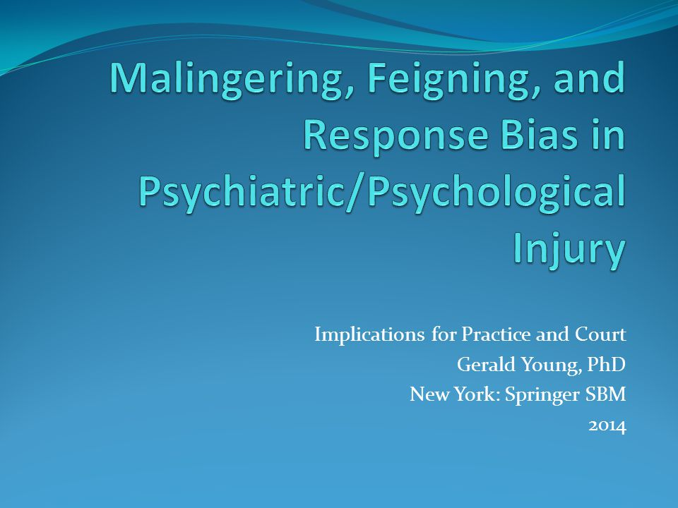 Implications for Practice and Court Gerald Young, PhD New York: Springer SBM 2014