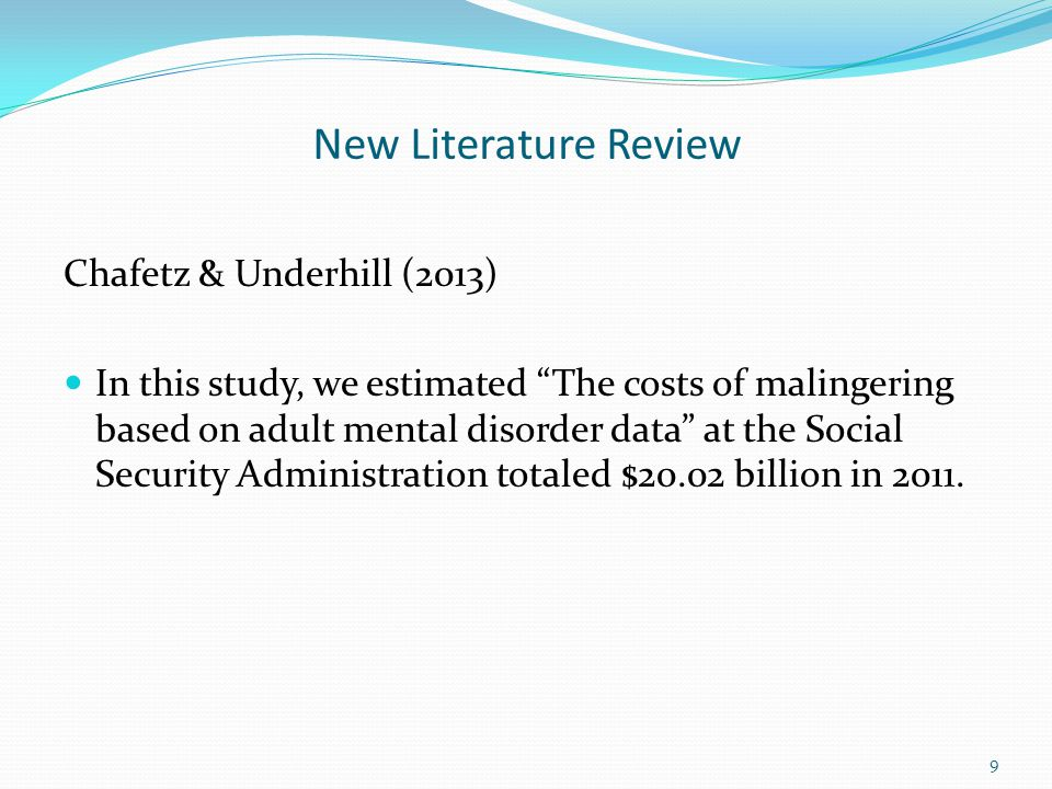 New Literature Review Chafetz & Underhill (2013) A letter from U.S.