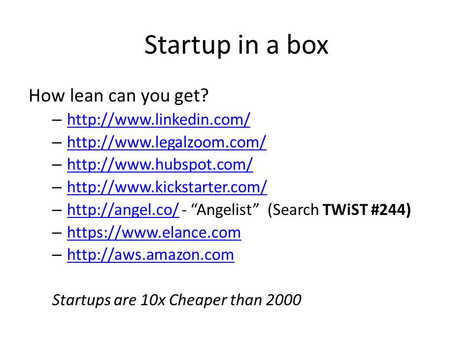Startup in a box How lean can you get.