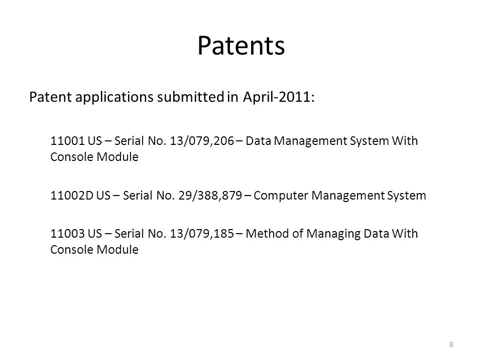 Patents Patent applications submitted in April-2011: 11001 US – Serial No.