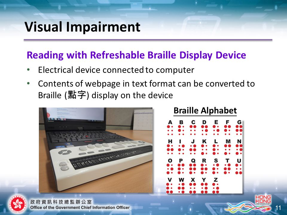 11 Visual Impairment Reading with Refreshable Braille Display Device Electrical device connected to computer Contents of webpage in text format can be converted to Braille ( 點字 ) display on the device Braille Alphabet