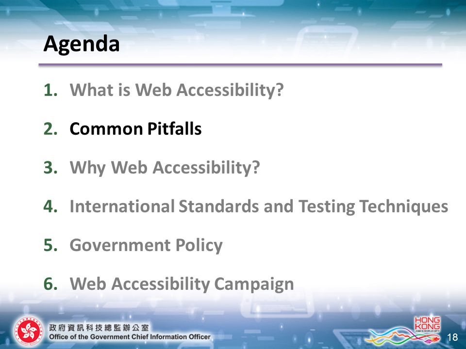 18 Agenda 1.What is Web Accessibility? 2.Common Pitfalls 3.Why Web Accessibility? 4.International Standards and Testing Techniques 5.Government Policy