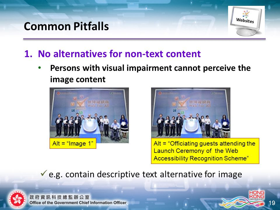 """19 1.No alternatives for non-text content Persons with visual impairment cannot perceive the image content Common Pitfalls Alt = """"Officiating guests a"""