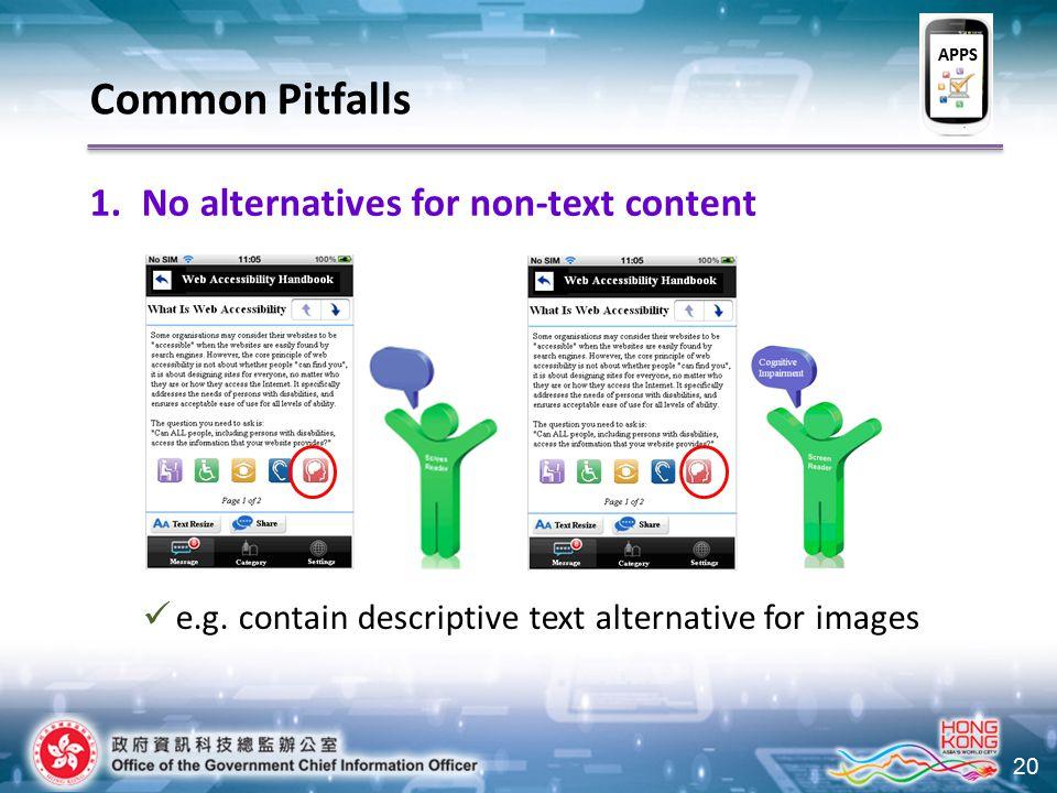 20 1.No alternatives for non-text content e.g. contain descriptive text alternative for images Common Pitfalls APPS