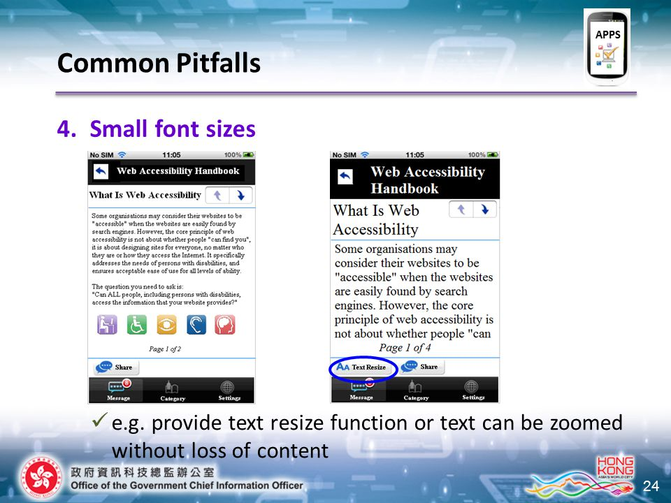 24 Common Pitfalls 4.Small font sizes e.g.