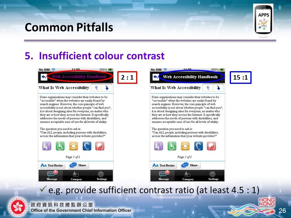 26 2 : 115 :1 Common Pitfalls 5.Insufficient colour contrast e.g. provide sufficient contrast ratio (at least 4.5 : 1) APPS
