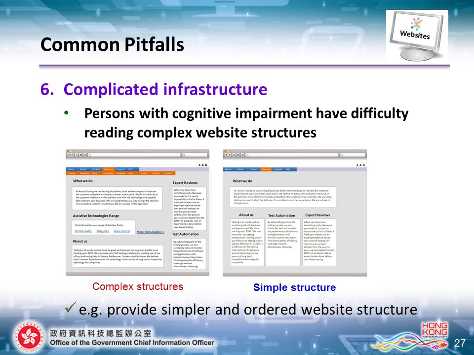 27 6.Complicated infrastructure Persons with cognitive impairment have difficulty reading complex website structures e.g. provide simpler and ordered