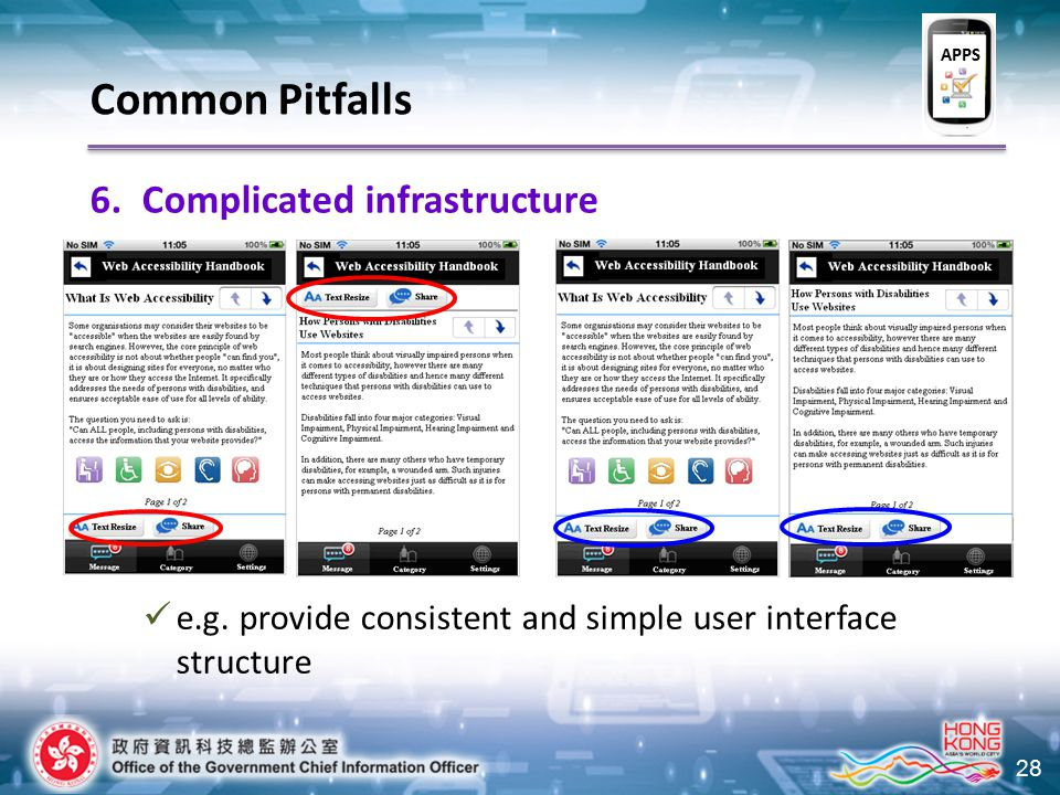 28 6.Complicated infrastructure e.g. provide consistent and simple user interface structure Common Pitfalls APPS
