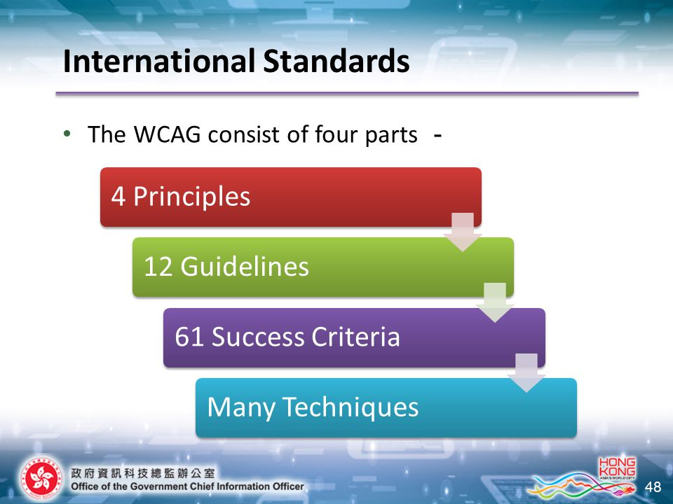 48 The WCAG consist of four parts - 4 Principles 12 Guidelines 61 Success Criteria Many Techniques International Standards