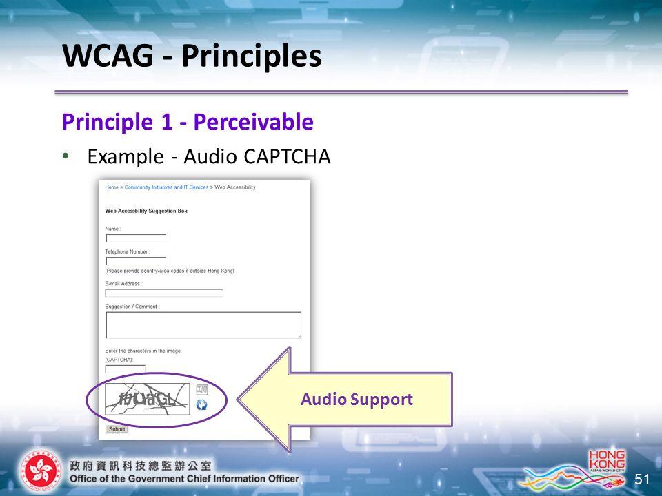 51 Principle 1 - Perceivable Example - Audio CAPTCHA WCAG - Principles Audio Support