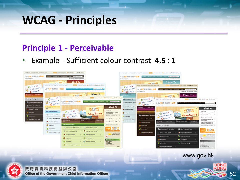 52 Principle 1 - Perceivable Example - Sufficient colour contrast 4.5 : 1 www.gov.hk WCAG - Principles