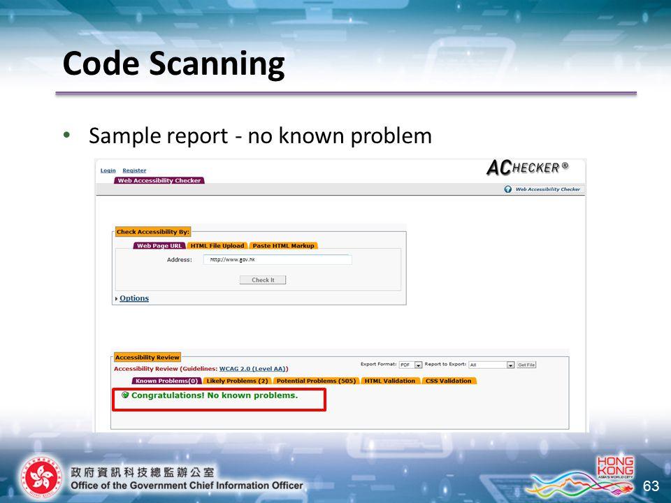 63 http://www.gov.hk Code Scanning Sample report - no known problem