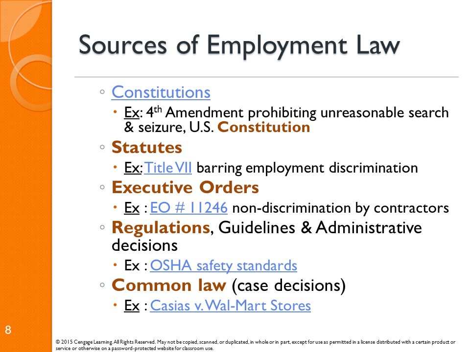 Sources of Employment Law ◦ Constitutions Constitutions  Ex: 4 th Amendment prohibiting unreasonable search & seizure, U.S. Constitution ◦ Statutes 