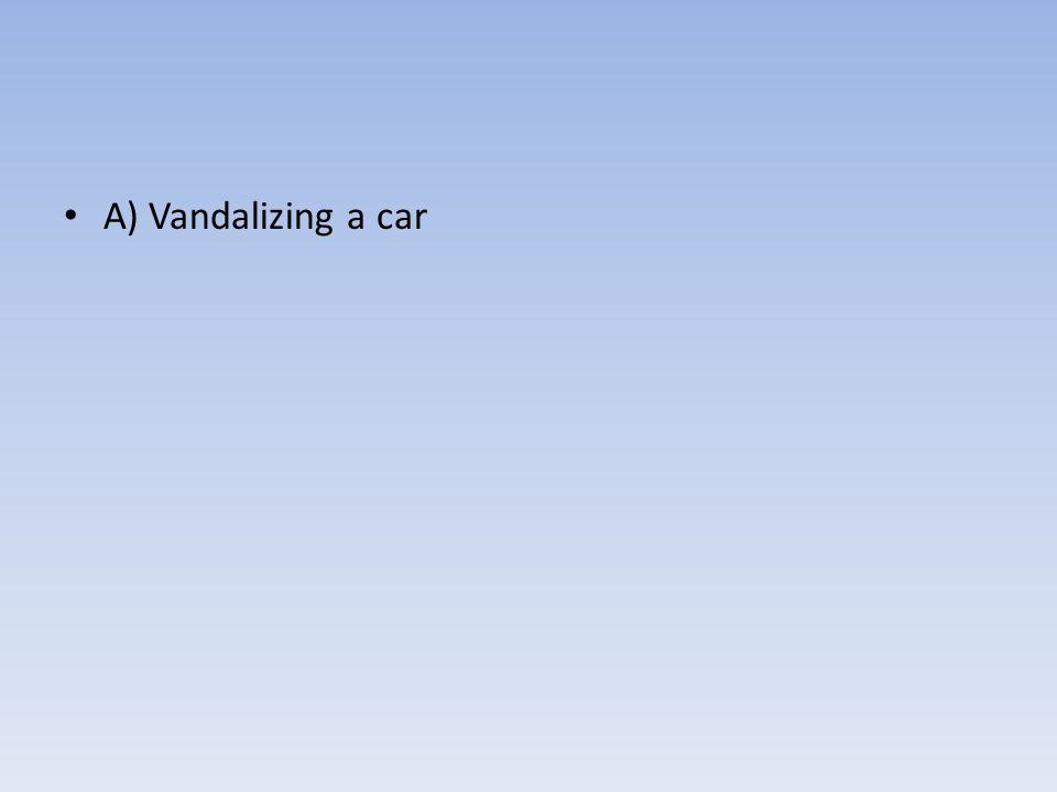 A) Vandalizing a car