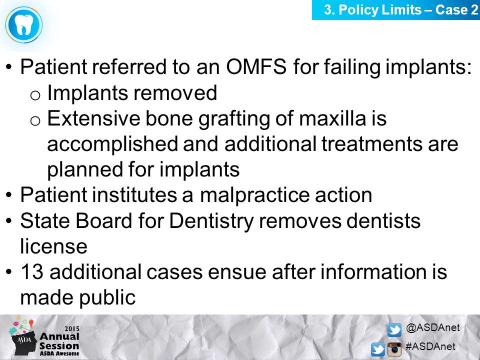 @ASDAnet #ASDAnet Patient referred to an OMFS for failing implants: o Implants removed o Extensive bone grafting of maxilla is accomplished and additi