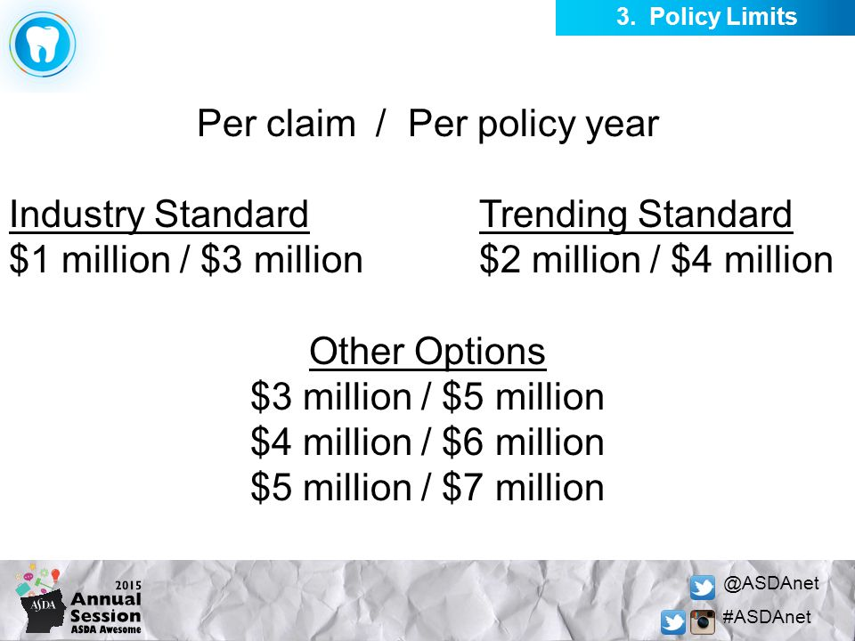 @ASDAnet #ASDAnet Per claim / Per policy year Industry StandardTrending Standard $1 million / $3 million$2 million / $4 million Other Options $3 milli