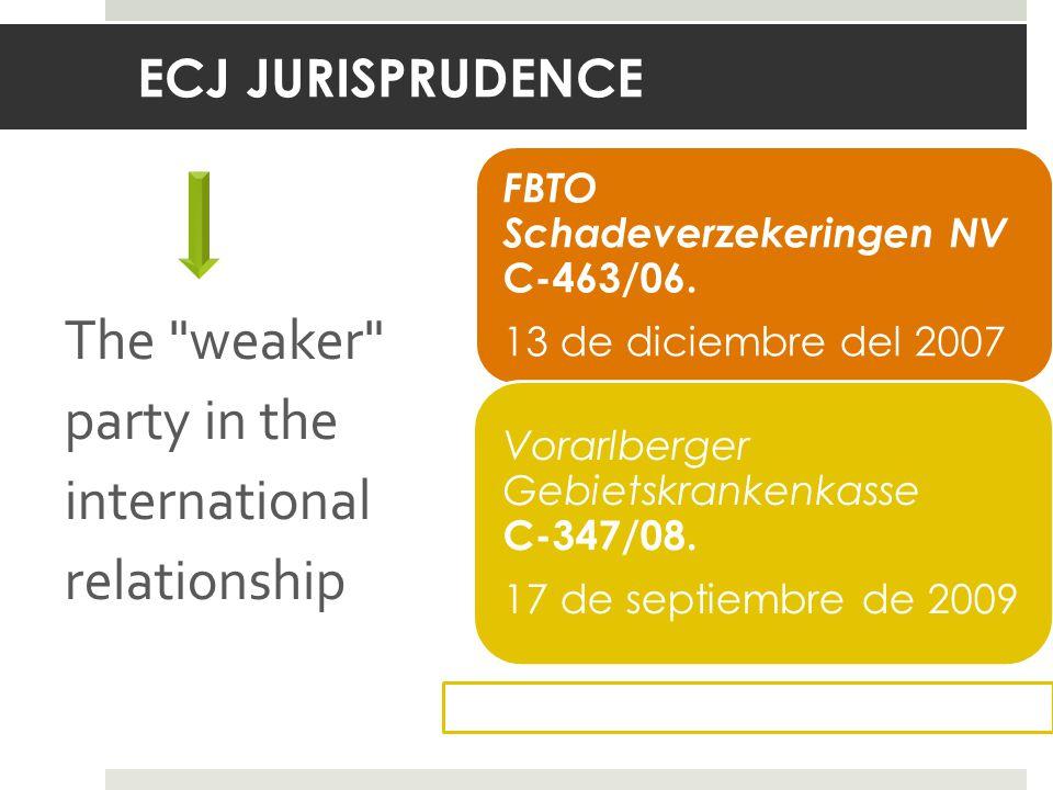 ECJ JURISPRUDENCE The weaker party in the international relationship FBTO Schadeverzekeringen NV C ‑ 463/06.