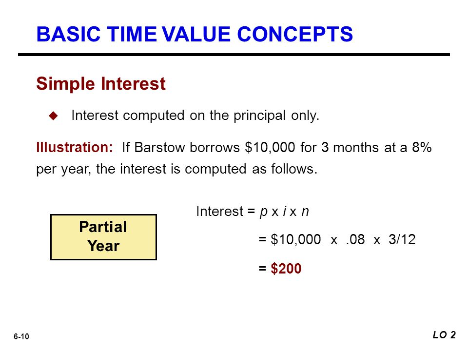 6-10 Simple Interest Interest = p x i x n = $10,000 x.08 x 3/12 = $200  Interest computed on the principal only. Illustration: If Barstow borrows $10