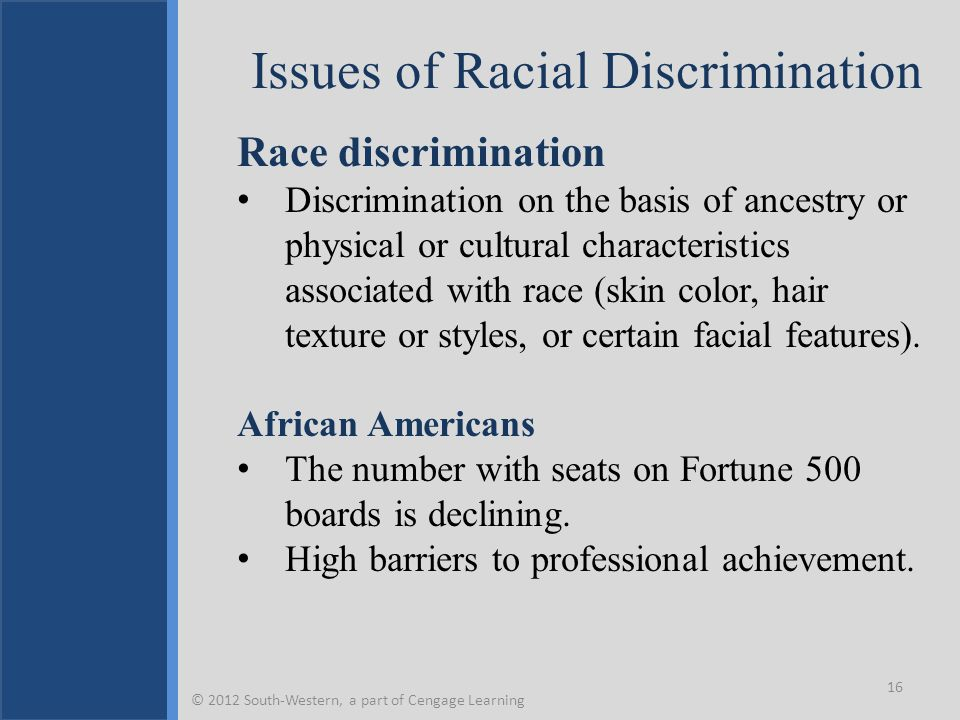 Issues of Racial Discrimination Race discrimination Discrimination on the basis of ancestry or physical or cultural characteristics associated with race (skin color, hair texture or styles, or certain facial features).