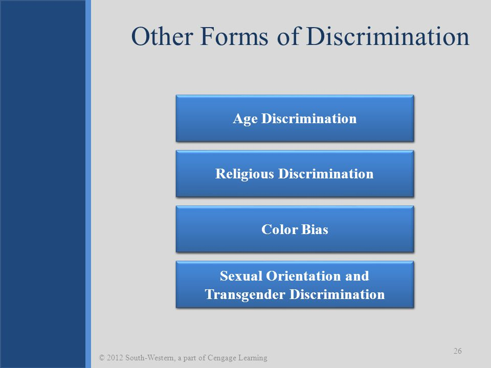 Other Forms of Discrimination 26 © 2012 South-Western, a part of Cengage Learning