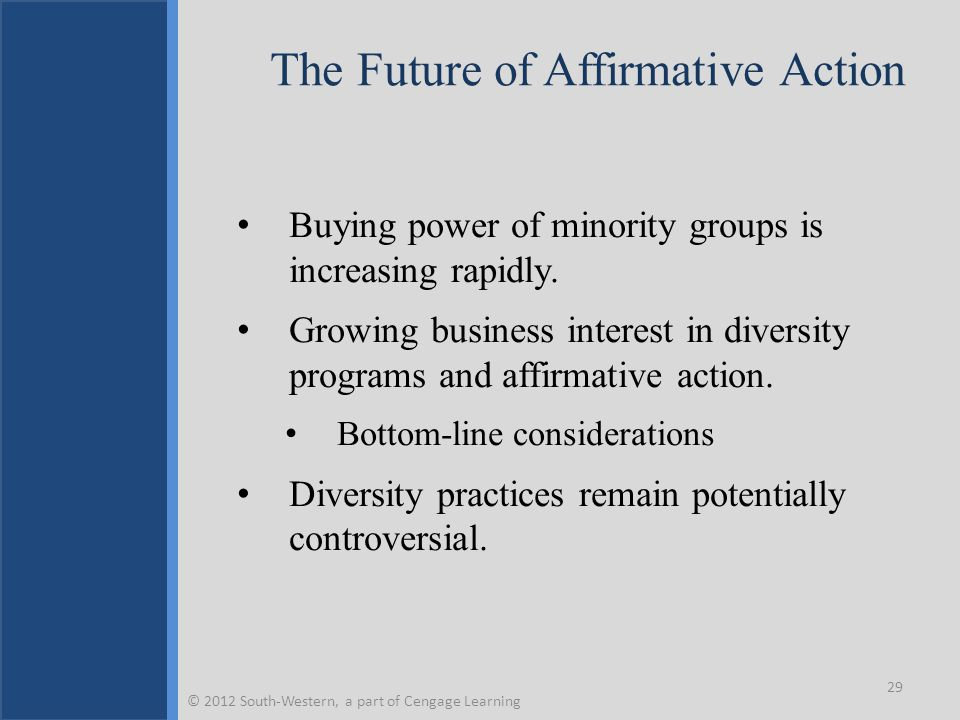The Future of Affirmative Action Buying power of minority groups is increasing rapidly.