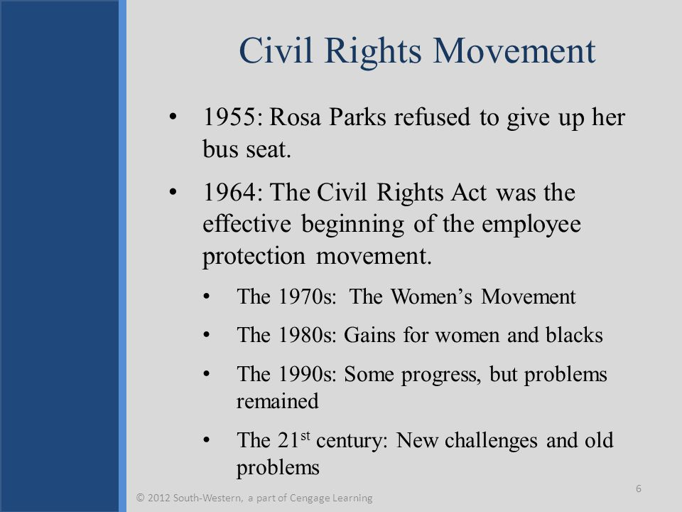 Civil Rights Movement 1955: Rosa Parks refused to give up her bus seat.