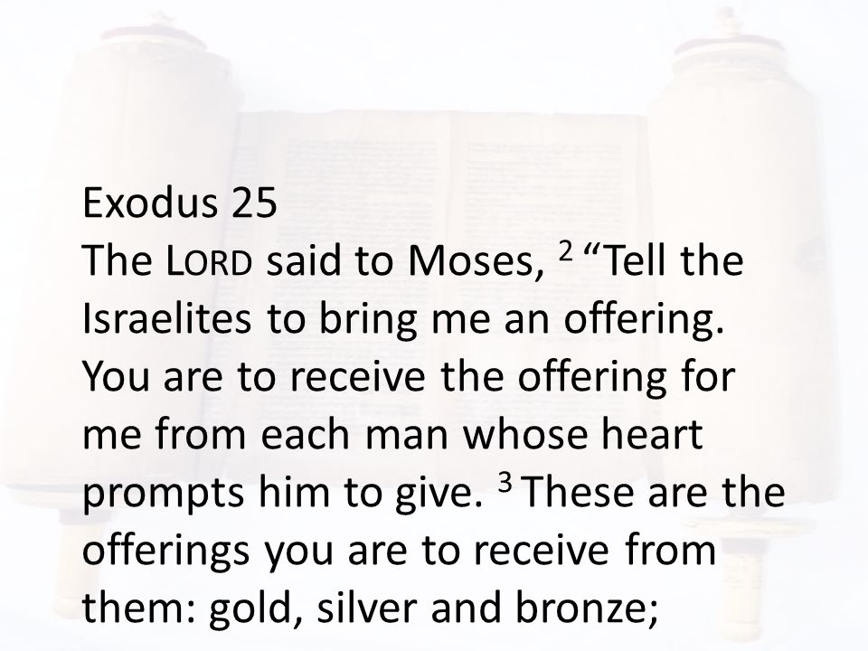 Exodus 25 The L ORD said to Moses, 2 Tell the Israelites to bring me an offering.