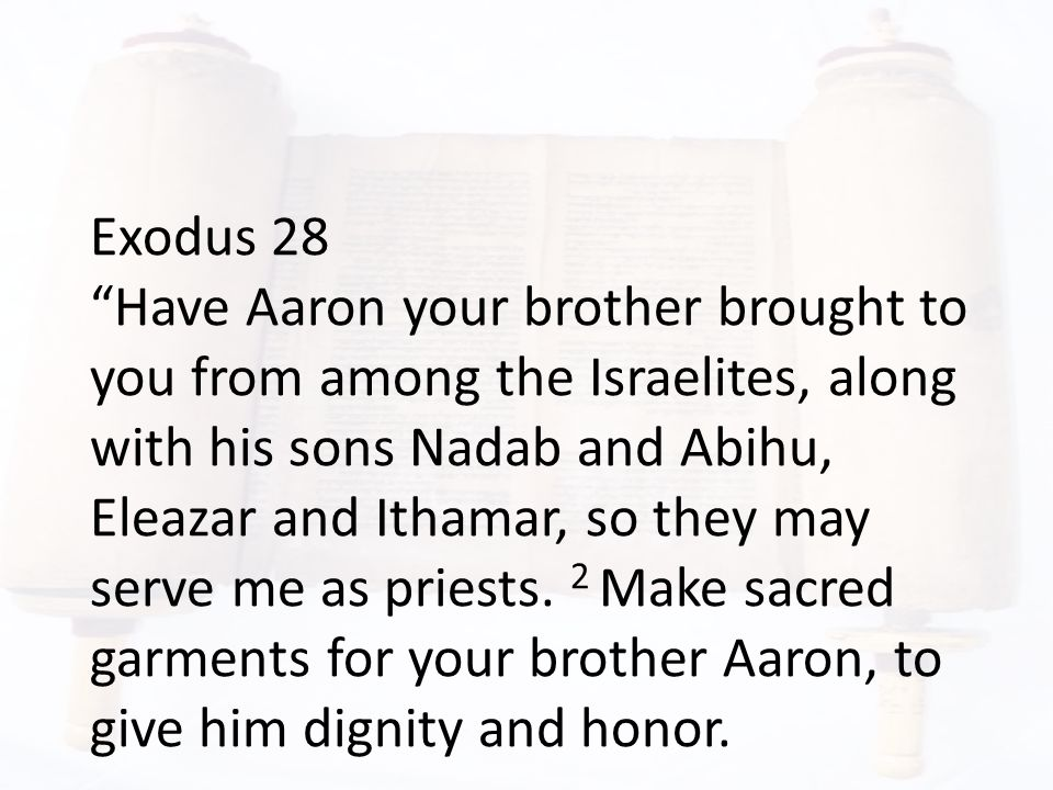 Exodus 28 Have Aaron your brother brought to you from among the Israelites, along with his sons Nadab and Abihu, Eleazar and Ithamar, so they may serve me as priests.