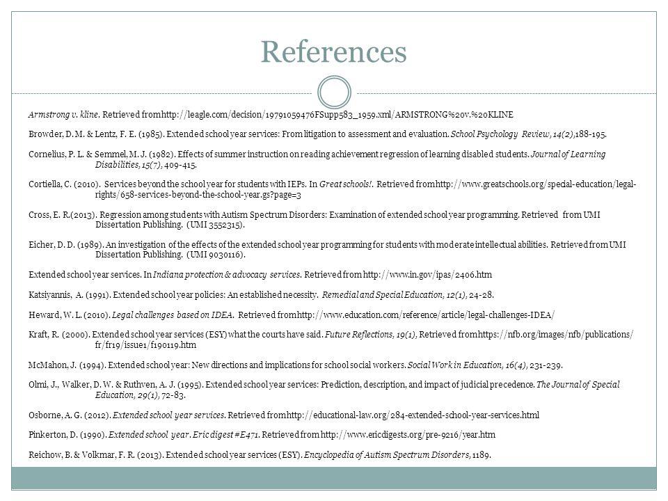 References Armstrong v. kline.
