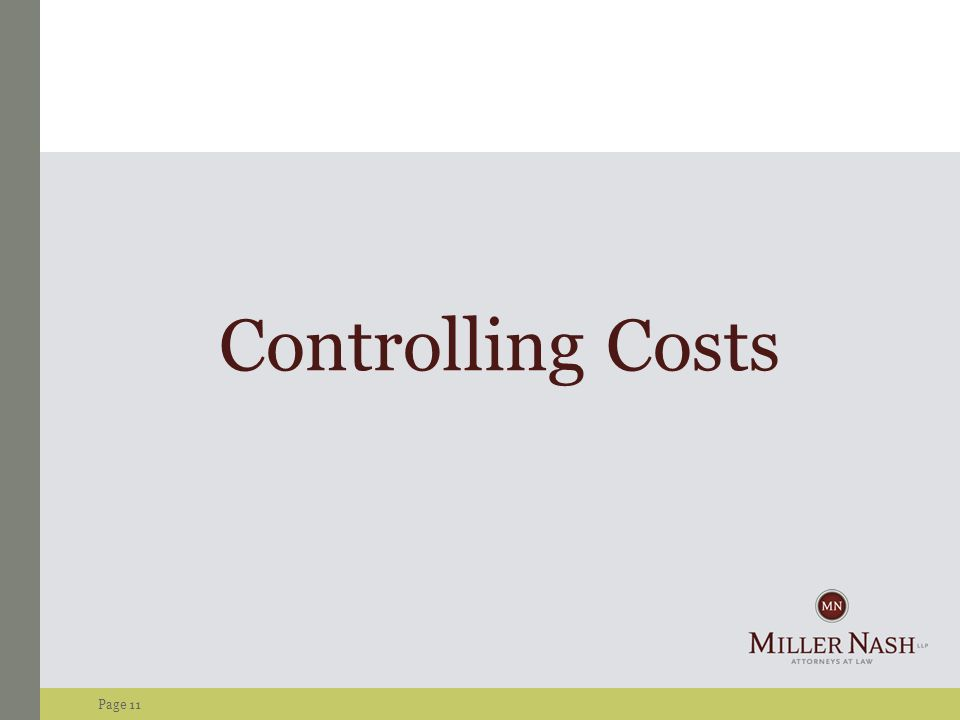 Page 11 Controlling Costs