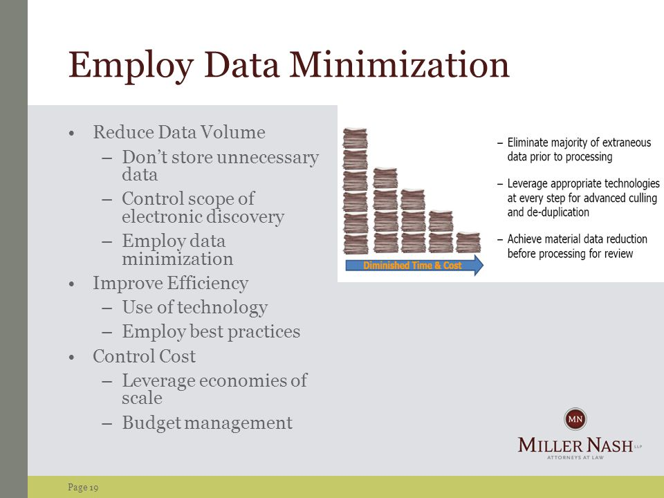 Page 19 Employ Data Minimization Reduce Data Volume –Don't store unnecessary data –Control scope of electronic discovery –Employ data minimization Improve Efficiency –Use of technology –Employ best practices Control Cost –Leverage economies of scale –Budget management
