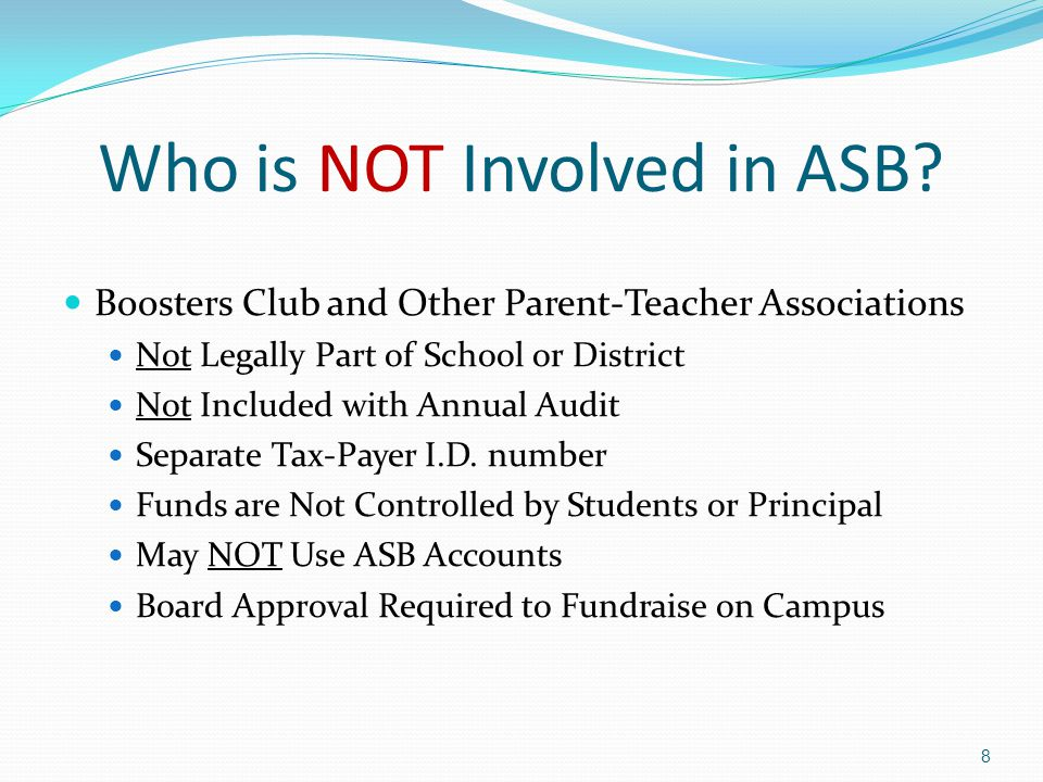 Who is NOT Involved in ASB.