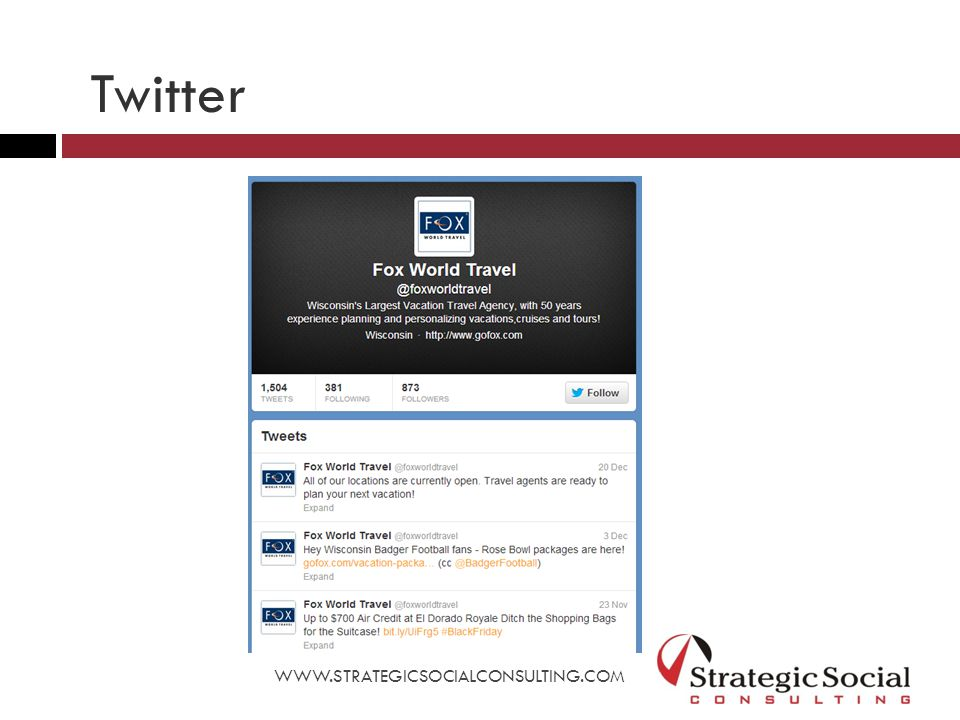 WWW.STRATEGICSOCIALCONSULTING.COM Twitter