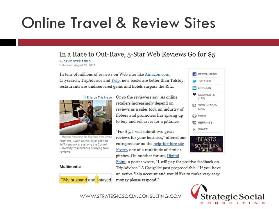Online Travel & Review Sites WWW.STRATEGICSOCIALCONSULTING.COM