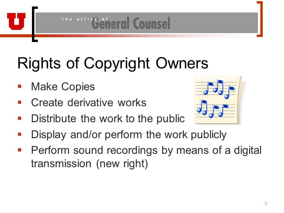 Rights of Copyright Owners  Make Copies  Create derivative works  Distribute the work to the public  Display and/or perform the work publicly  Pe