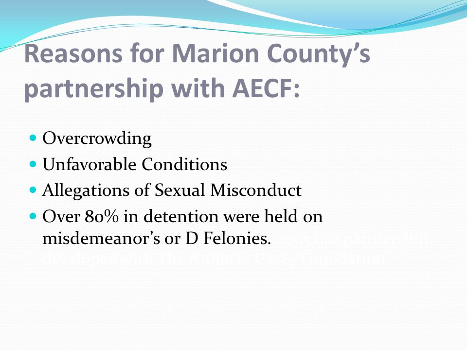 2012 Promising Outcomes Release ConditionFailure to Appear RateRecidivism Rate Supervised Release5.511.9 Curfew4.615.5 Home Confinement3.913.1 Evening Reporting1.919.8 Day Reporting3.812.7 Electronic Monitoring1.915.5 Shelter Care0.02.2 Total3.5%12.9%