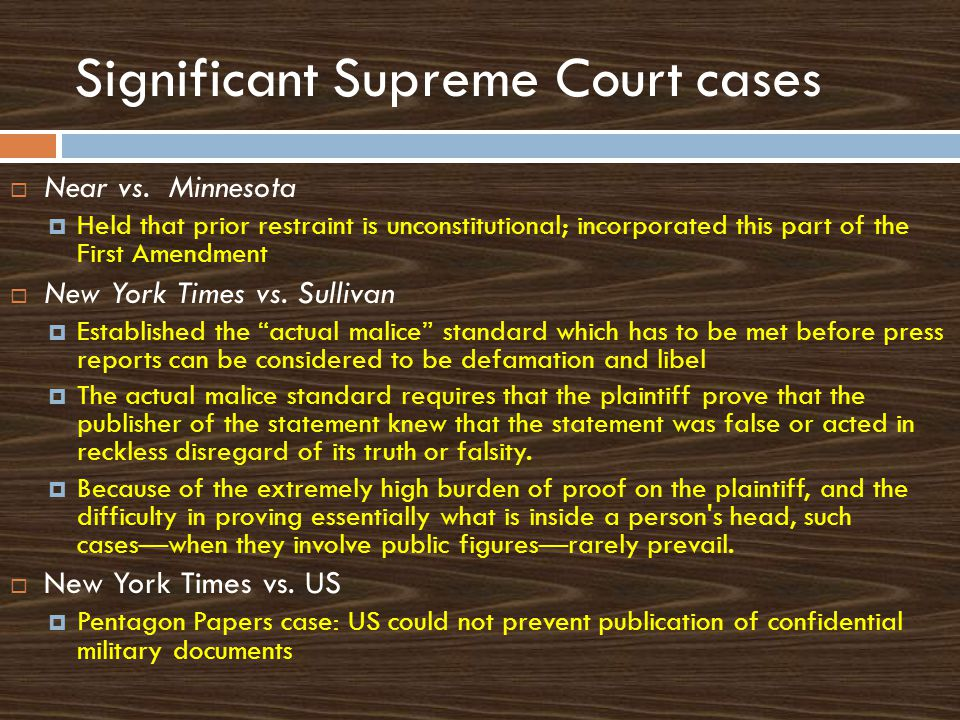 Significant Supreme Court cases  Near vs.