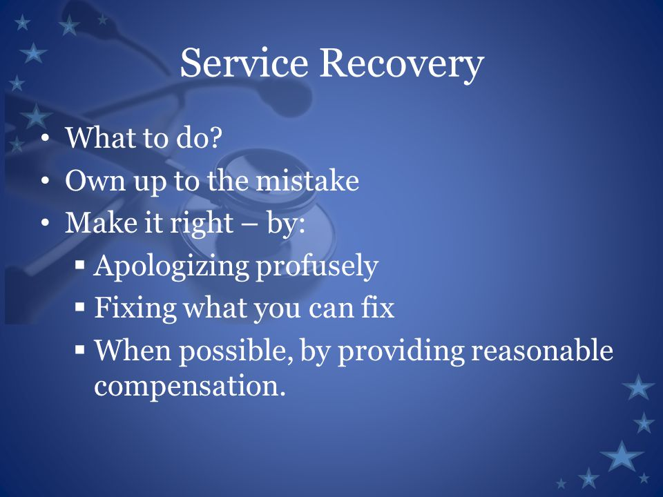 Service Recovery What to do.