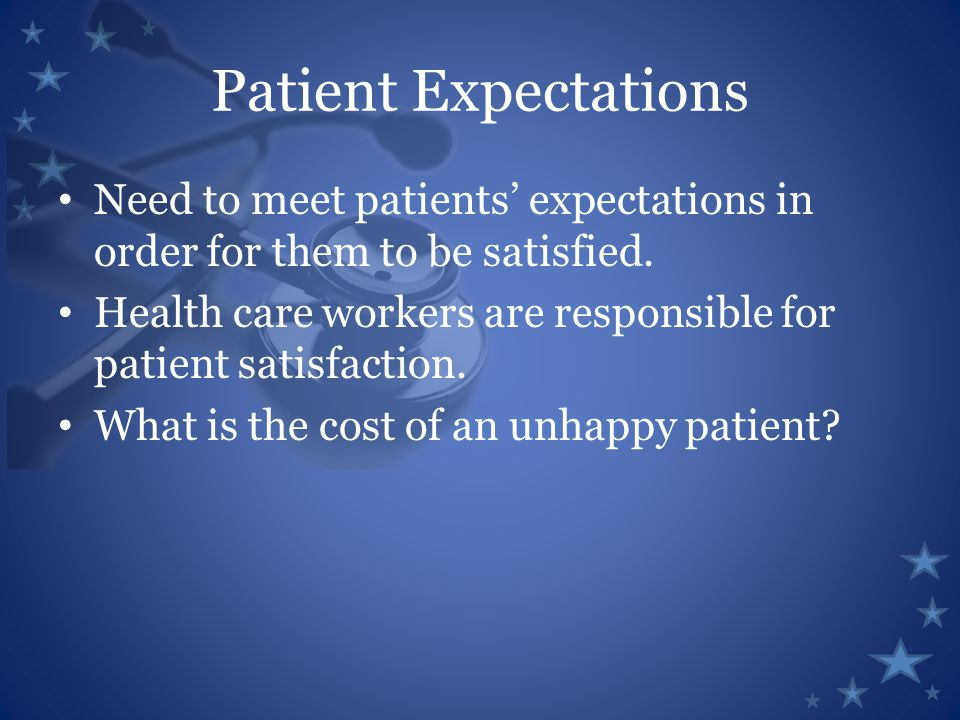 Patient Expectations Need to meet patients' expectations in order for them to be satisfied.