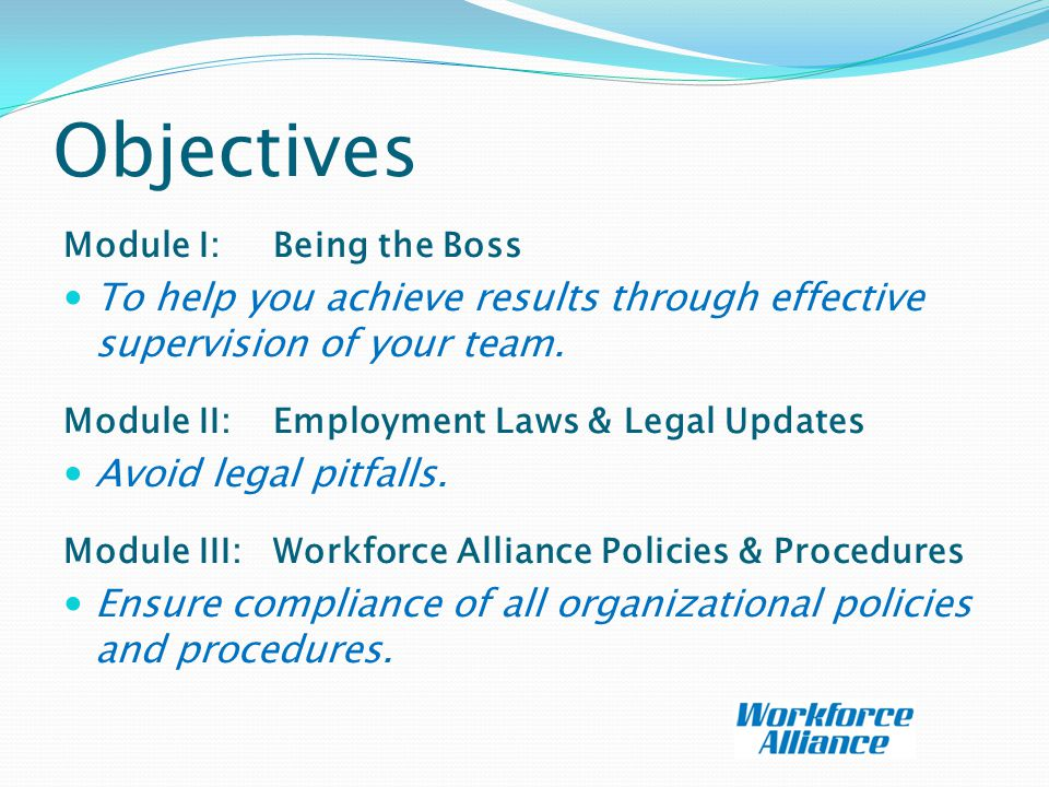 Objectives Module I: Being the Boss To help you achieve results through effective supervision of your team.