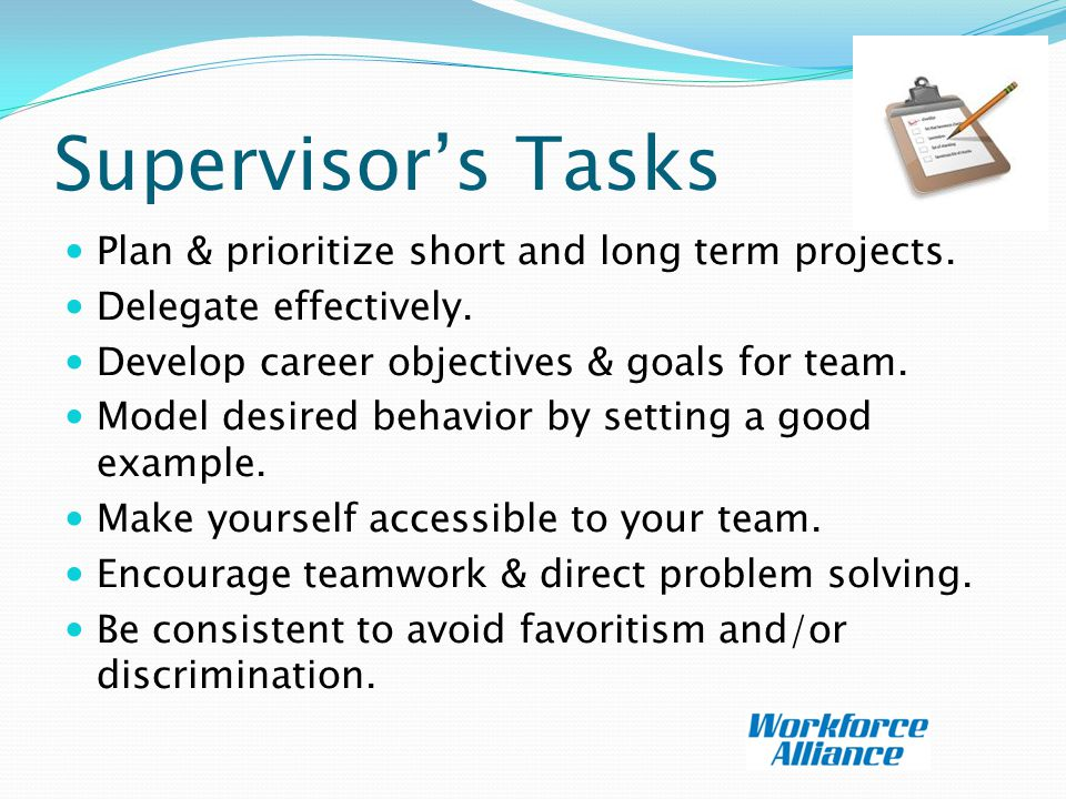 Supervisor's Tasks Plan & prioritize short and long term projects.