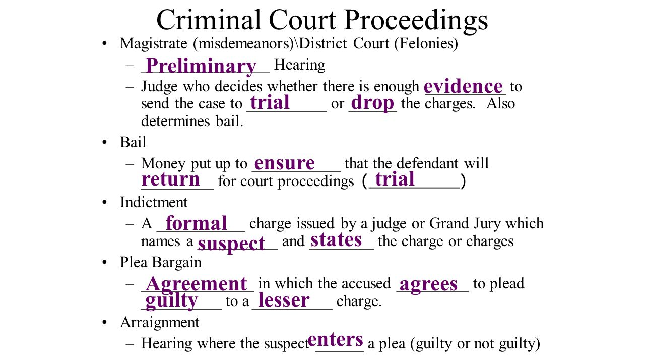 Criminal Court Proceedings Magistrate (misdemeanors)\District Court (Felonies) –________________ Hearing –Judge who decides whether there is enough __