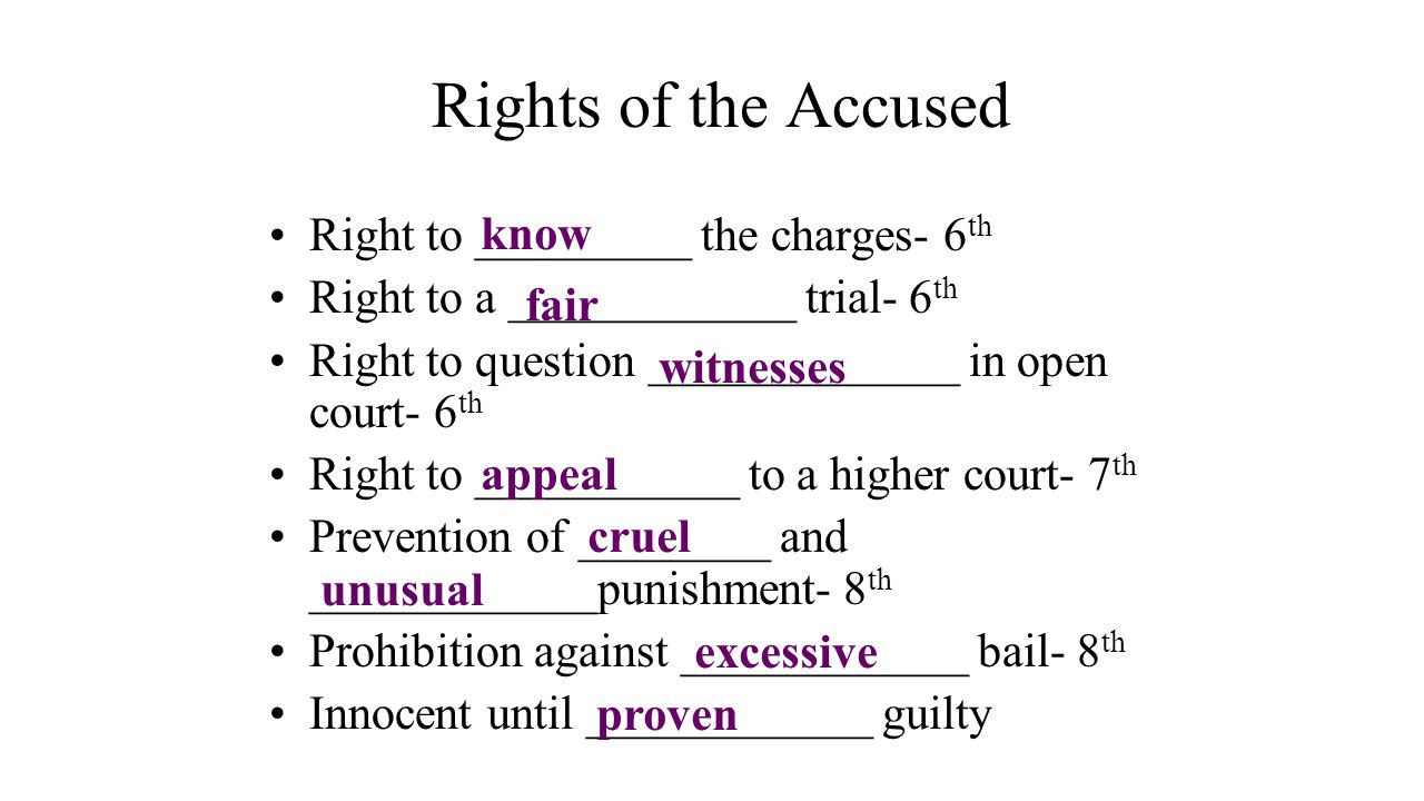 Rights of the Accused Right to _________ the charges- 6 th Right to a ____________ trial- 6 th Right to question _____________ in open court- 6 th Rig