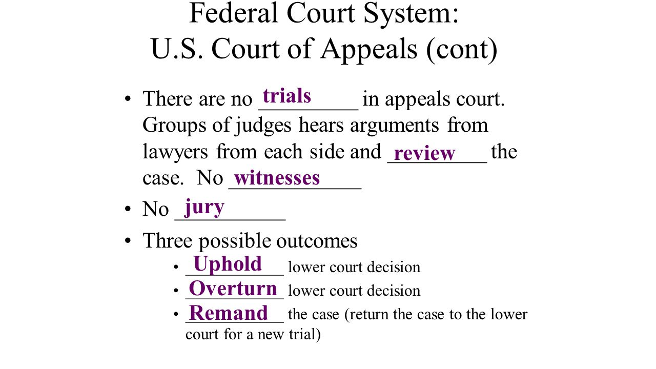 Federal Court System: U.S. Court of Appeals (cont) There are no _________ in appeals court. Groups of judges hears arguments from lawyers from each si