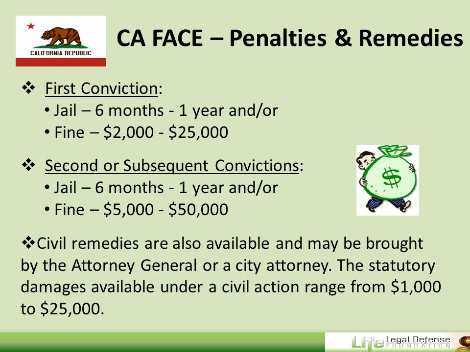 CA FACE – Penalties & Remedies  First Conviction: Jail – 6 months - 1 year and/or Fine – $2,000 - $25,000  Second or Subsequent Convictions: Jail – 6 months - 1 year and/or Fine – $5,000 - $50,000  Civil remedies are also available and may be brought by the Attorney General or a city attorney.